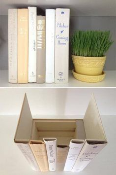 Hidden Storage books- Glue old book spines to a box for hidden storage. Leave the front cover on one of the books and the back cover on another to use as the sides of your box. This would be perfect for spare remotes, cables, router, or anything else you wish to keep out of site but accessible.  from -Chera