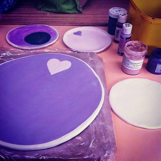 Ceramis. Dinner party platter set in the making.
