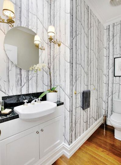 Birch tree wallpaper in the bathroom. I bought a roll 5 yrs ago dreaming of doing this. Can't wait!