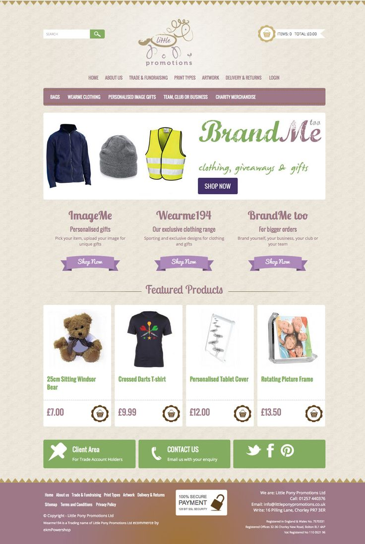 Little Pony Promotions - Design and Build for EKM Ecommerce site