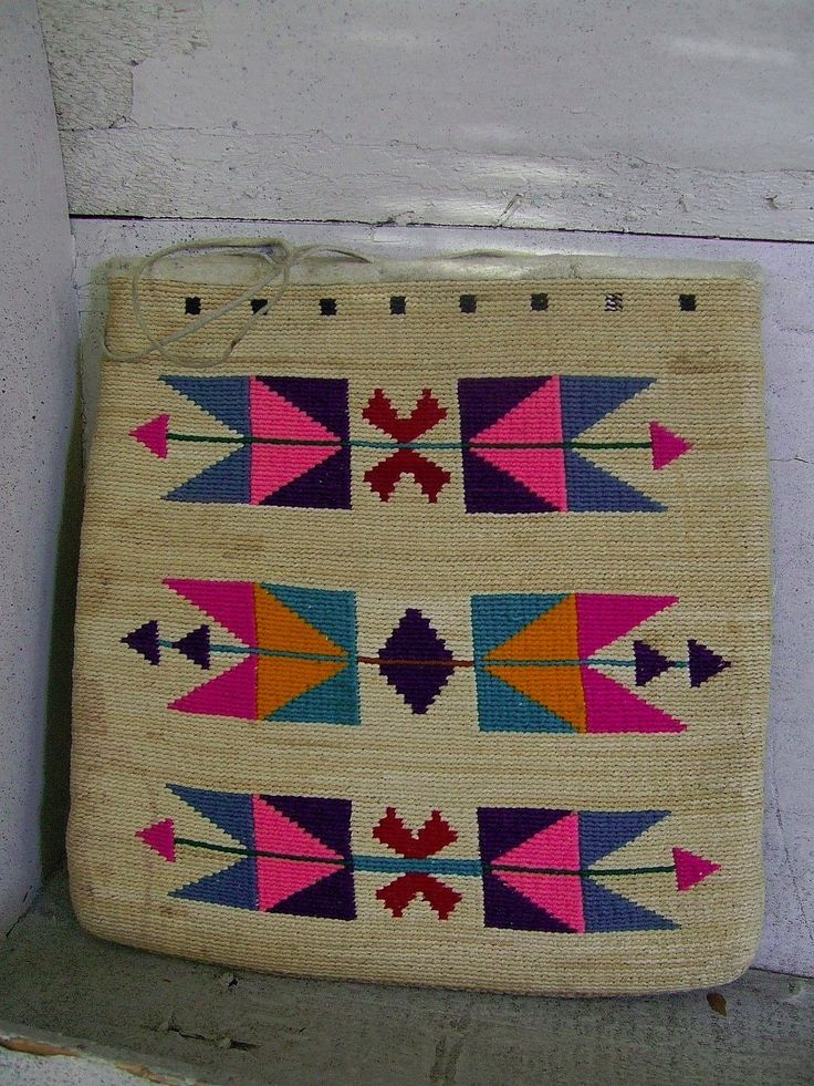 Nez Perce Indian Corn Husk Bag Native American Corn Husk Bag Double Sided Design