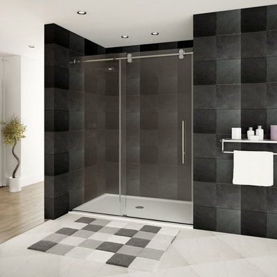 This streamlined sliding glass shower door brings a classy and modern look to any remodel. In addition to insuring a smooth glide each time you enter your shower, the neatly hidden bottom rollers are also adjustable, allowing for a more precise fit when your walls are less than precisely square.