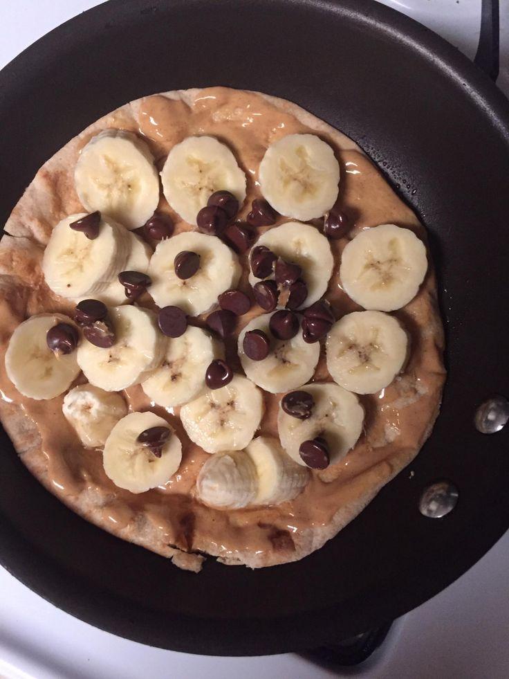 Banana Pita Treat = 6 SP Spray pan with Pam, 1T pb on Joseph's flax oat bran whole wheat pita bread, 1 banana sliced and 1T semisweet chocolate chips. Heat, foldover and enjoy. 6SP