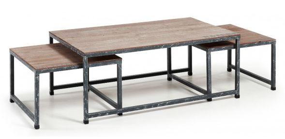 Set de tres mesas de centro en madera de abeto y