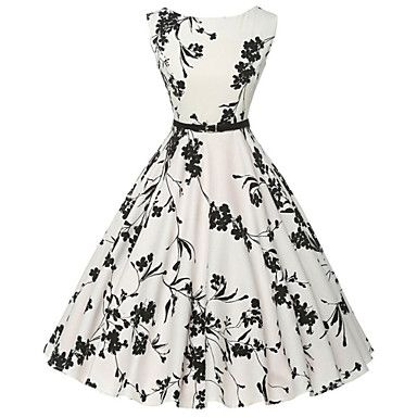 Women's Vintage / Simple Floral Sheath / Skater Dress,Round Neck Knee-length Cotton 2016 - $17.99
