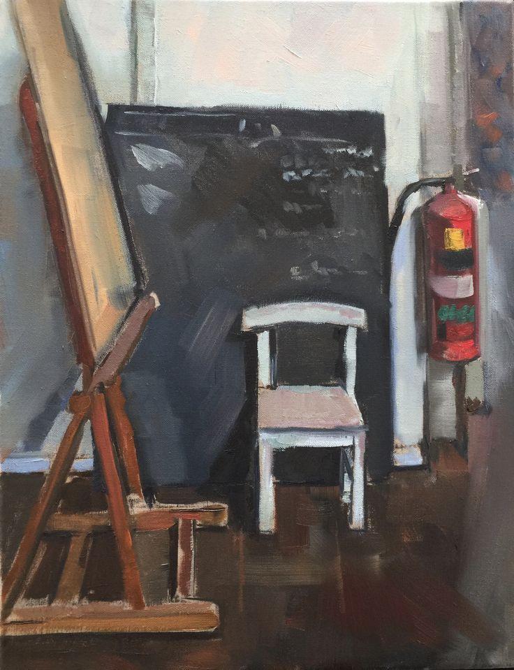 Studio blackboard Oil on linen 45x30cm