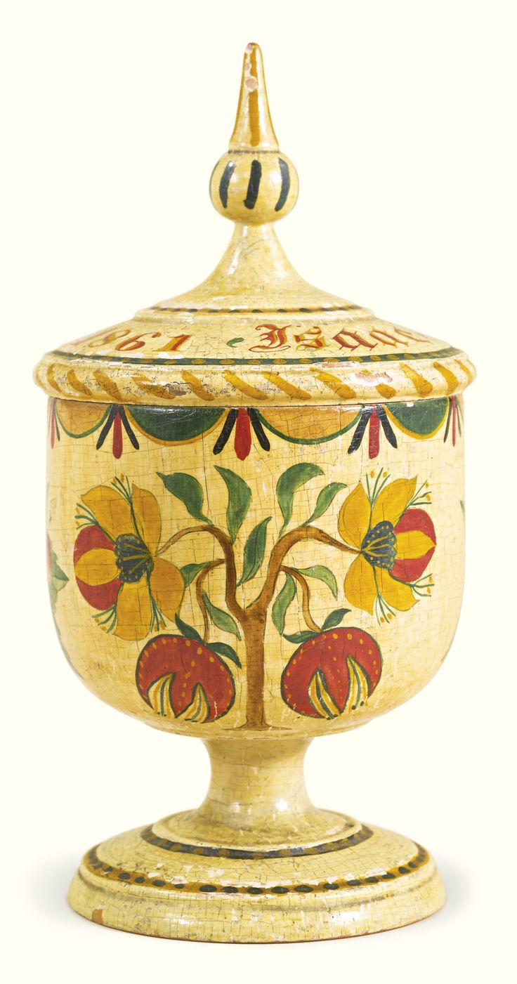 Rare painted poplar spice cup, attributed to Jared Stiehly (1833-1911) and Elizabeth Mayer Stiehly (1826-1878) -  Mahantango or Schwaben Creek Valley, Northumberland and Schuylkill Counties, Pennsylvania, dated 1861 -  Inscribed on lid, paint: Isaac Stiely, May 1861 -  7 3/4 by 4 in. diam. [sold for $245,000]