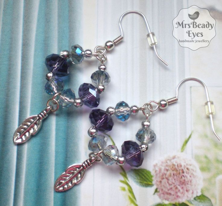 Feather hoop earrings Silver feather earrings Crystal feather earrings Blue hoop earrings Blue feather earrings Purple feather earrings by MrsBeadyEyes on Etsy