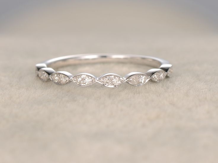 Diamond Wedding Rings For Her 14k White Gold Antique Art Deco Half Eternity Band Marquise Shape Annivery Ring
