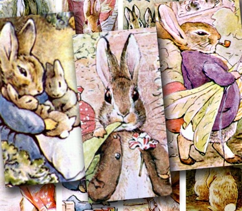 Scanned from first-edition Beatrix Potter books. This digital collage sheet is sized for dominoes, glass tiles, and cards, by piddix.