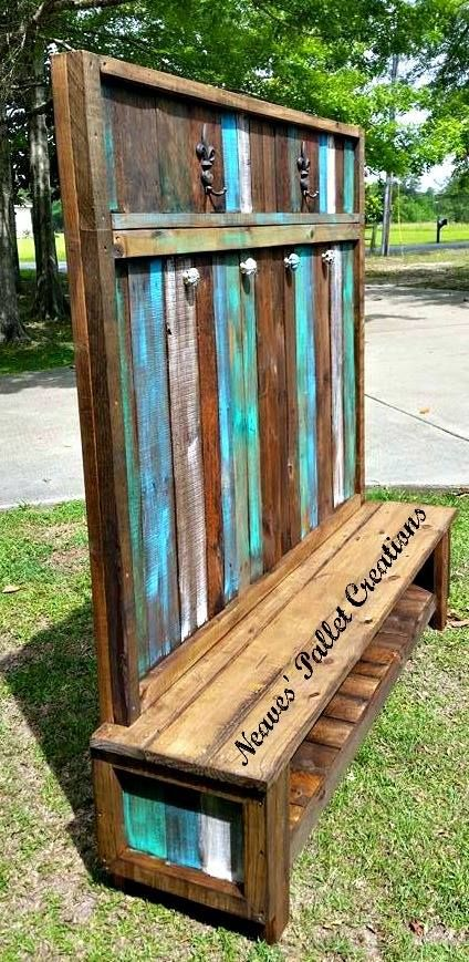 Wooden Pallets Made Customized Hall Tree – Pallets Ideas, Designs, DIY. (shared via SlingPic)