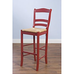 Ellis needs his own chair for the kitchen counter.     This slat back designed stool is the perfect compliment to any counter or pub table. Constructed of rubberwood and finished in red with a woven rush seat, this stool adds a touch of rustic style.