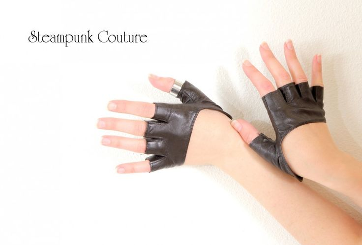 Dark brown leather knuckle gloves