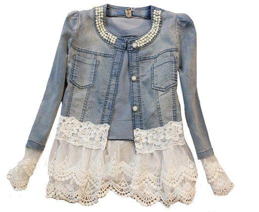 SMITHROAD Damen Denim Cotton Cute Short Jacke Denim mit Spitze Jeansjacke