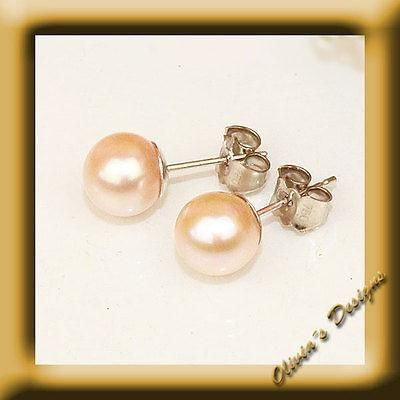 Echte Rosa Akoya Perlen ca 7 mm Ohrstecker Ohrringe Weiß Gold 750 Neu 18 kt  #gold #earwires #bracelets #earstuds #saphir #armband #ruby #amber #bernstein #designer