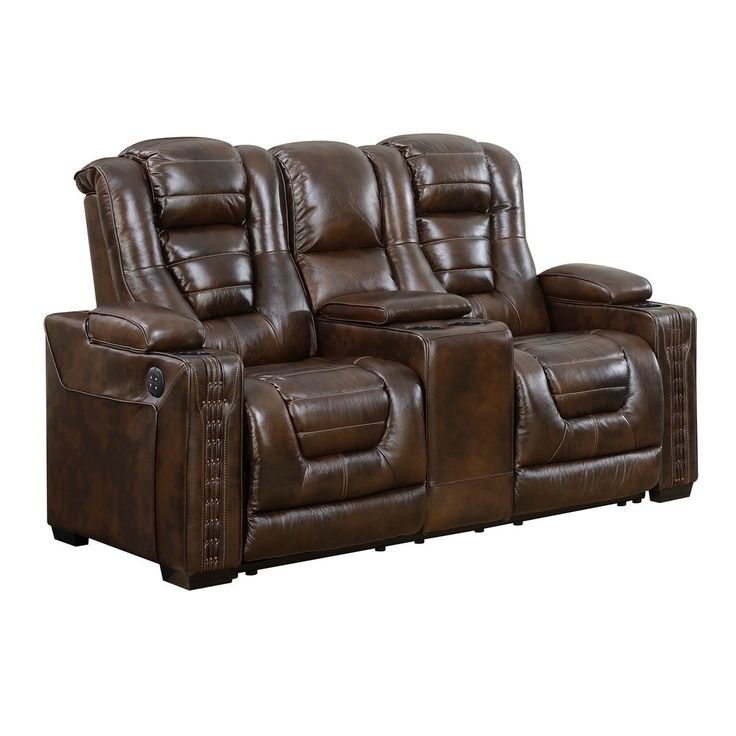 coja bowman leather dual power recliner loveseat with console brown