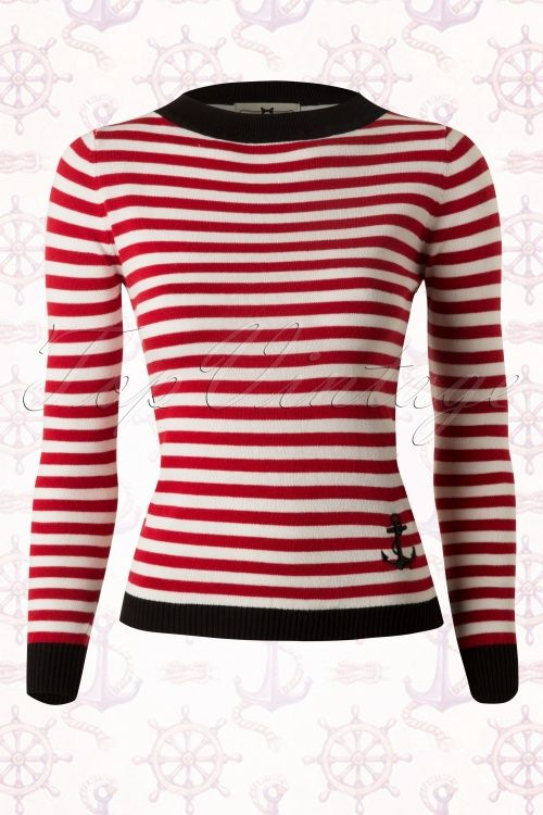 Collectif Clothing Sarah Nautical Red White Striped Sweather 110 27 13278 20140528 0003WB
