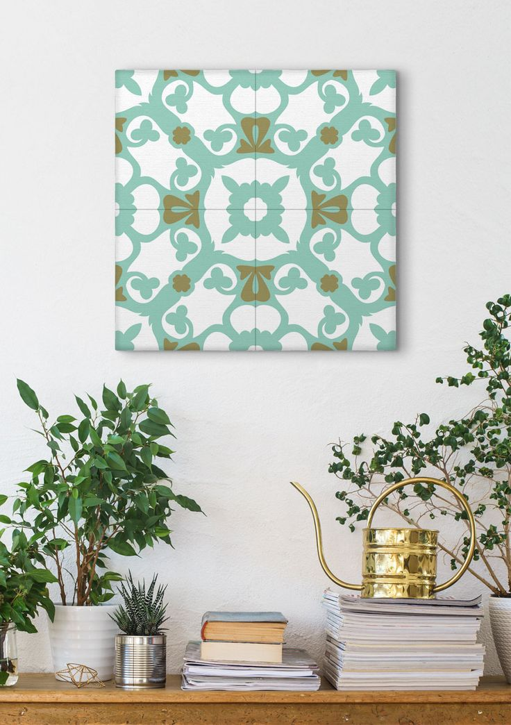 Turquoise Wall Art, Stretched Canvas, Mosaic Art, Tile Designs, Barcelona Tiles, Wall Decorating by Macrografiks on Etsy