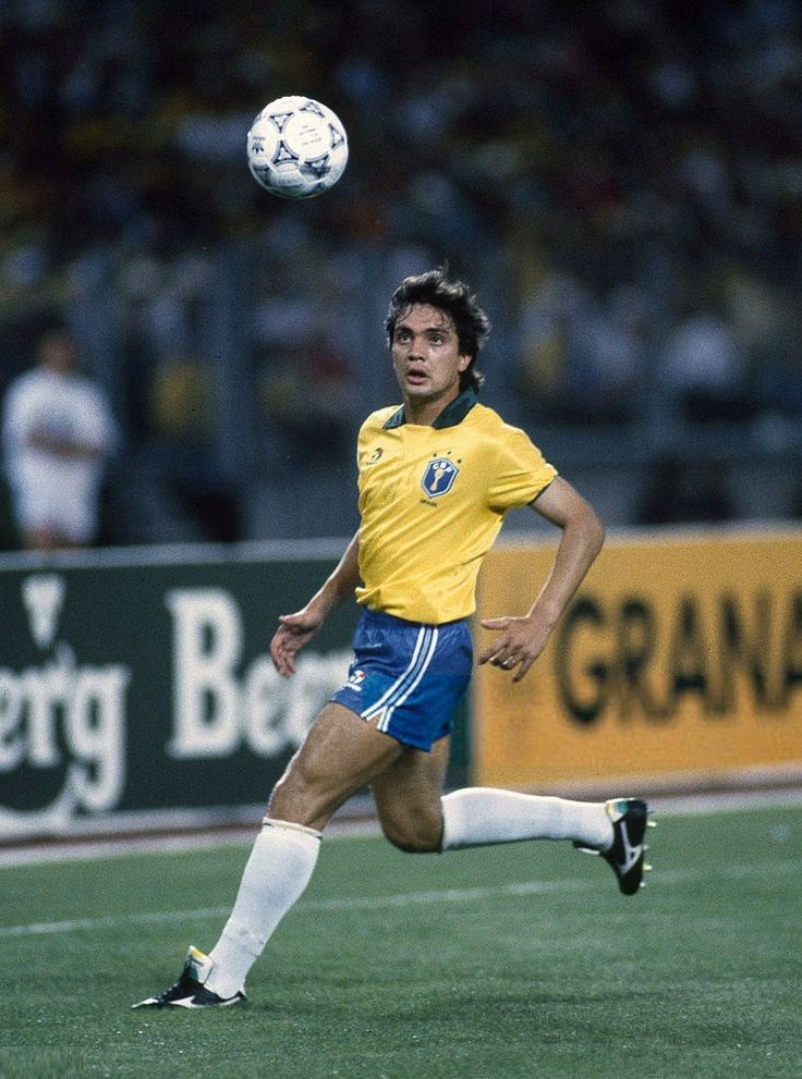 10 June 1990 - FIFA World Cup - Brazil v Sweden, Branco in action for Brazil.