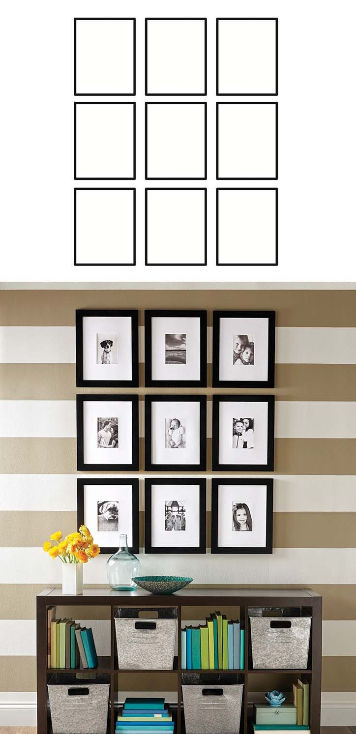FROM OUR MAY AD IN BETTER HOMES AND GARDENS MAGAZINE - How to Create a Gallery Wall: Employ a grid system where the space between all frames is consistent for stunning, focal-point gallery wall.  Download & print this image to get started!