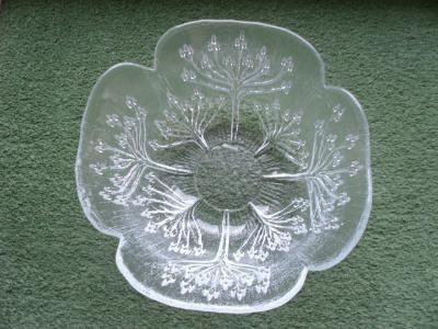 Glas Schale Schüssel 23,5 cm Bäume Baum Blütendolden Design Pertti Kallioinen? Hersteller: Mäntsälän Lasisepät? Finnland