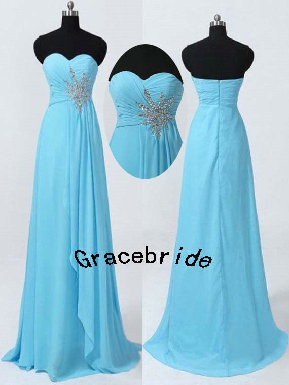right blue chiffon bridesmaid dresses for wedding long delicate prom gowns with beaded and rhinestones elegant stunninghomecoming dress hot on Etsy, $128.00