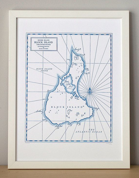 Block Island Rhode Island Letterpress Printed by QuailLanePress