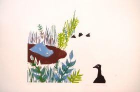 Un hippopotame La pluie est amoureuse du ruisseau Gravure sur bois