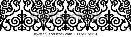 Vector illustration of kazakh ornamental black border. shutterstock