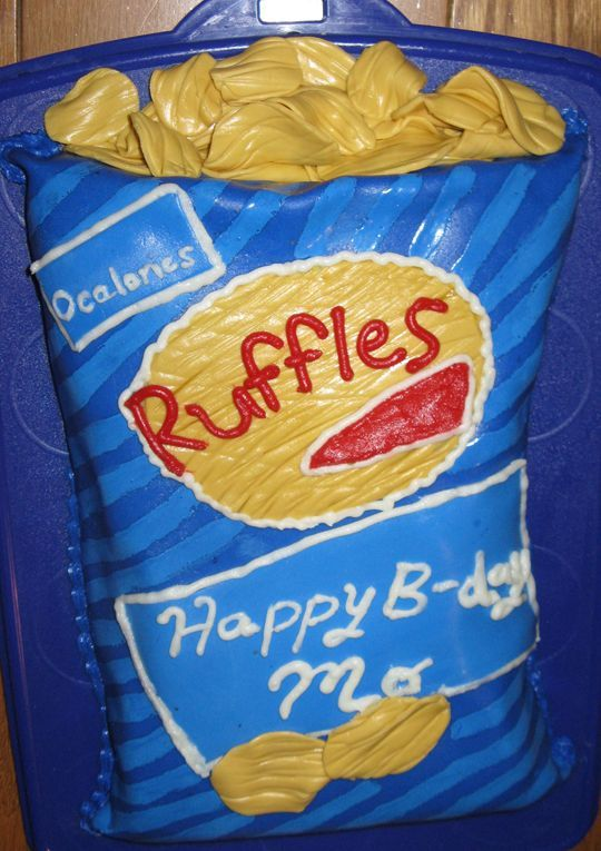Bag of Ruffles potato chips - I made this cake for my best friend's 39th birthday. She lists potato chips as her fave food, so I thought she could have her cake and chips too! The cake is made out of marshmallow fondant  (MMF) and I used buttercream for some of the writing. The chips are MMF and I used a pastry cutter to imprint them to look like ripple chips.