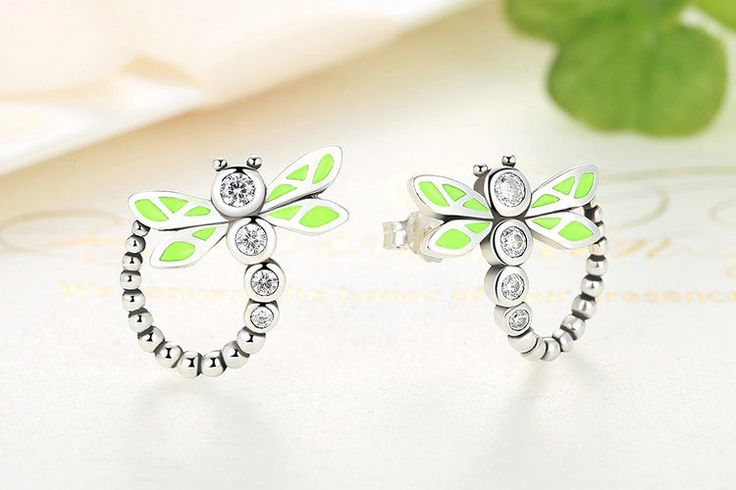Libellula verde orecchini con smalto verde 100% Argento sterling 925 Per donne di classe originali gioielli regalo CE018 di OceanBijoux su Etsy
