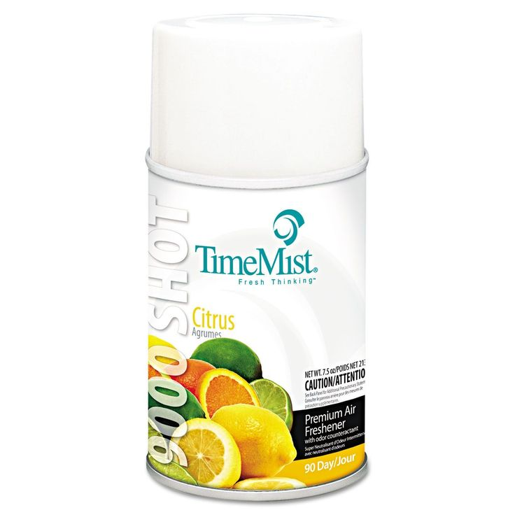 TimeMist 9000 Shot Metered Air Fresheners Citrus 7.5-ounce Aerosol 4/Carton