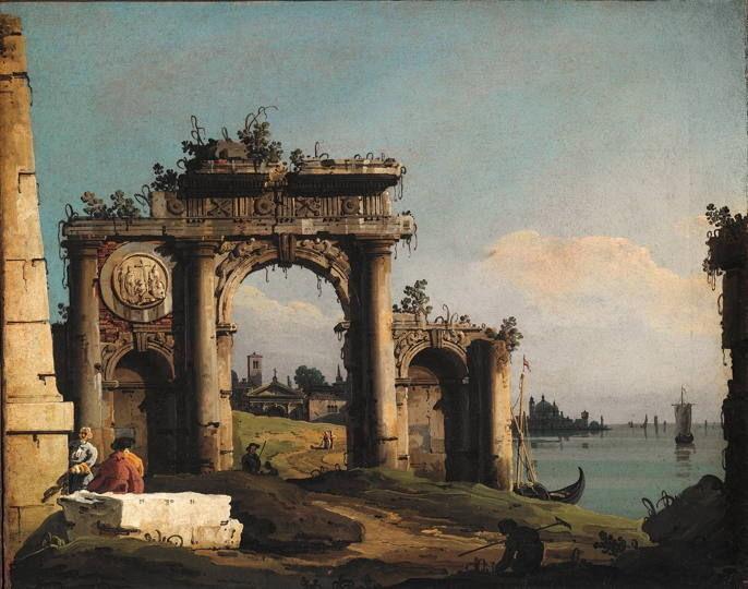 Bernardo Bellotto, Caprice avec un arc de triomphe sur le bord de la lagune, 1743 : Huile sur toile, 40,5 x 49 cm, Asolo, Museo Civico © Museo di Asolo