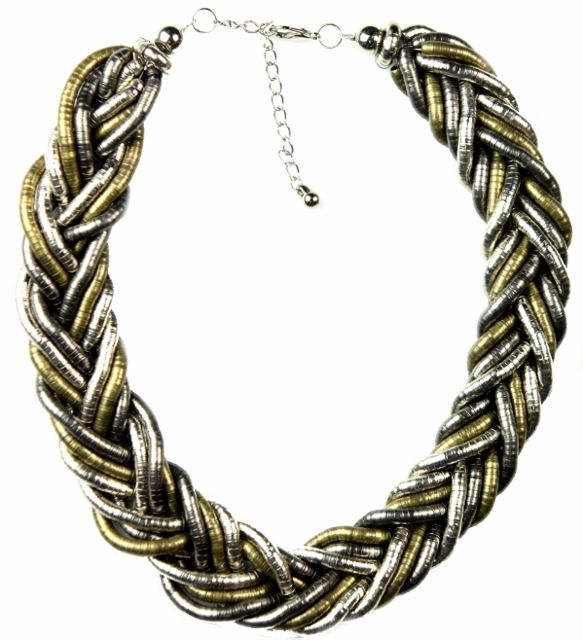 Ropes of Leisure Silver Plaited Necklace.  Get tied up in the metal-mixing trend! The Ropes necklace features 3 metallic-toned strands neatly twisted into a gorgeous statement necklace. The combination of finishes is ultra-versatile, matching up well with silver or gold earrings and bracelets, and imparting a casually glamorous feel to outfits. http://www.byariane.com.au/Sistaco-Ropes-Leisure