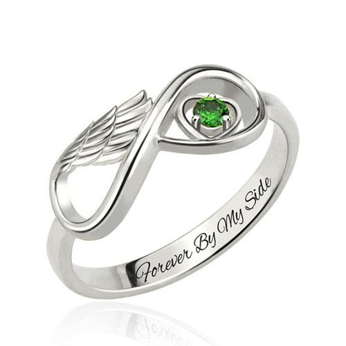 One Stone Infinity Angel Wings Silver Ring
