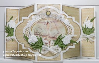 Handmade card by DT member Anja with Creatables Anja's Oval (LR0376), Tiny's Tulip (LR0401) and  Tiny's Ferns (LR0403) from Marianne Design