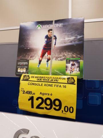 Walmart (Hiper Bompreço) Xbox ONE + FIFA 16 (loja física) R$ 1299,00