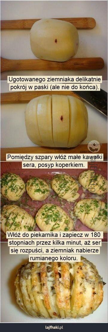 Ziemniaczany przysmak - Ugotowanego ziemniaka delikatnie pokrój w paski (ale nie…
