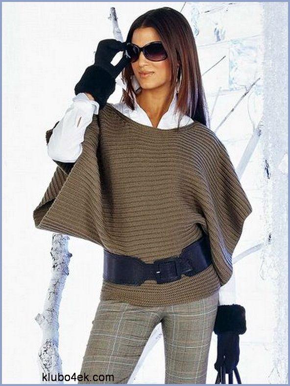 Эффектный т-образный пуловер
