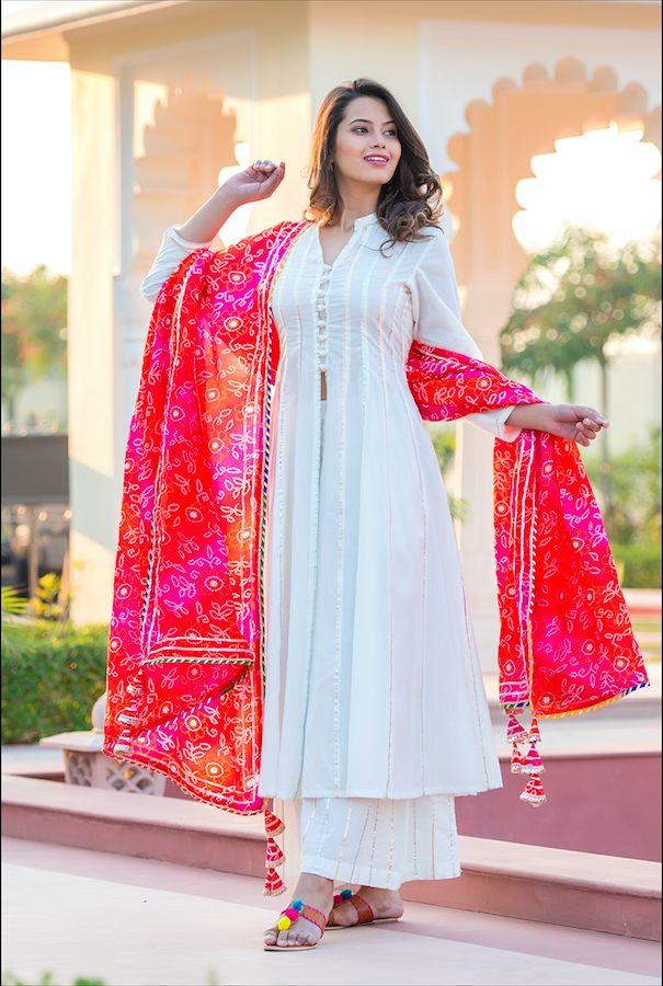 White Kali Gota Suit With Bandhani Duppata