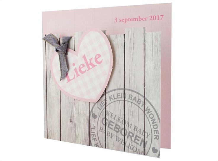 97.547 Roze, steigerhout, hartje, lint. - Family Cards - De allerliefste geboortekaartjes