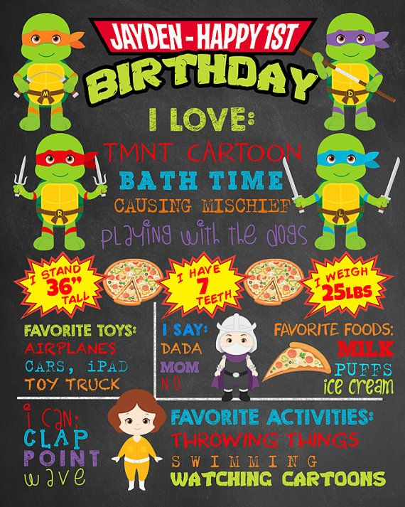 First Birthday TMNT Chalkboard Teenage Mutant Ninja Turtles Party. Boy 1st Birthday Chalk Board Custom Printable. Superhero Party Decor.