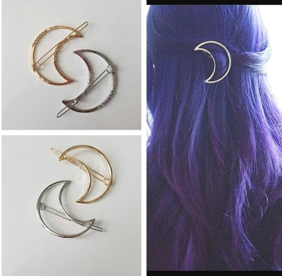 Moon Hair Clips, Gold Hair Clips, Silver Hair Clips, Moon Gold Hair Clips, Moon Silver Hair Clips, Moon hair pin