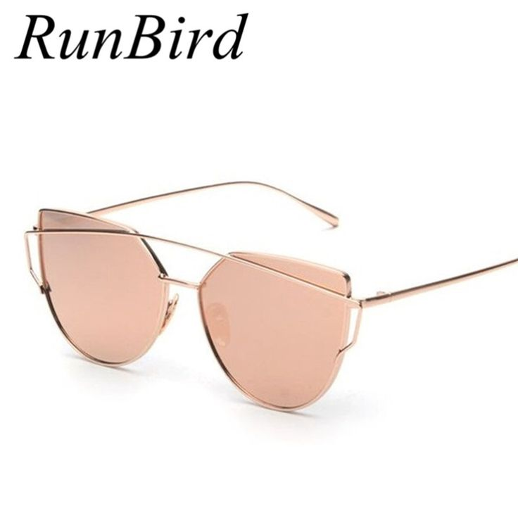 RunBird Mirror Flat Lense Women Cat Eye Sunglasses Classic Brand Designer Twin-Beams Rose Gold Frame Sun Glasses for Women M195 Like it? #shop #beauty #Woman's fashion #Products #Classes