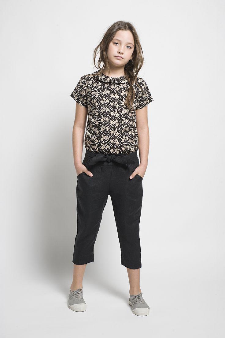 Pantalón lino negro - Sainte Claire | Ropa de niñas, niños y bebés