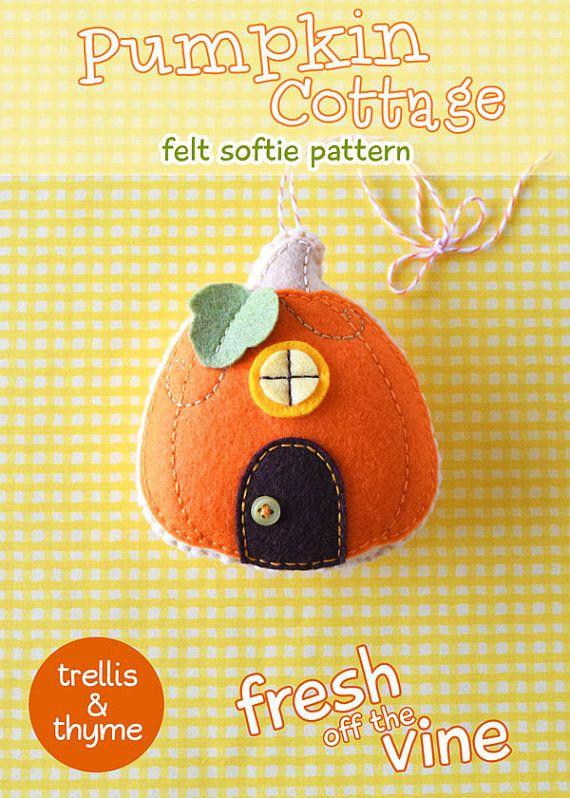 PDF  chalet citrouille ornement patron Halloween par sosaecaetano