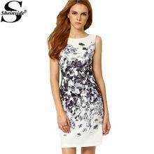 Sheinside Summer vestido lápiz atractiva de Bodycon viste acuarela mujer traje blanco mujer sin mangas Vintage imprimir Mini vestido(China (Mainland))