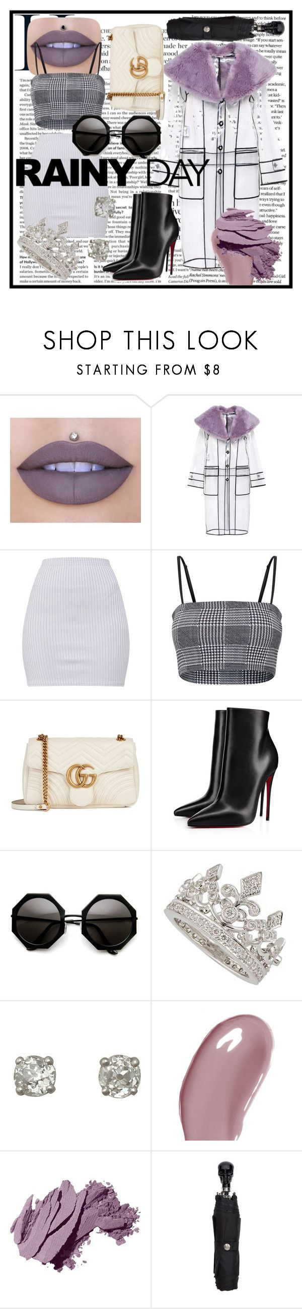 """Rainy Day"" by the-sartorial-sparkle ❤ liked on Polyvore featuring Jeffree Star, Miu Miu, Gucci, Christian Louboutin, Garrard, Chantecaille, Bobbi Brown Cosmetics and Alexander McQueen"