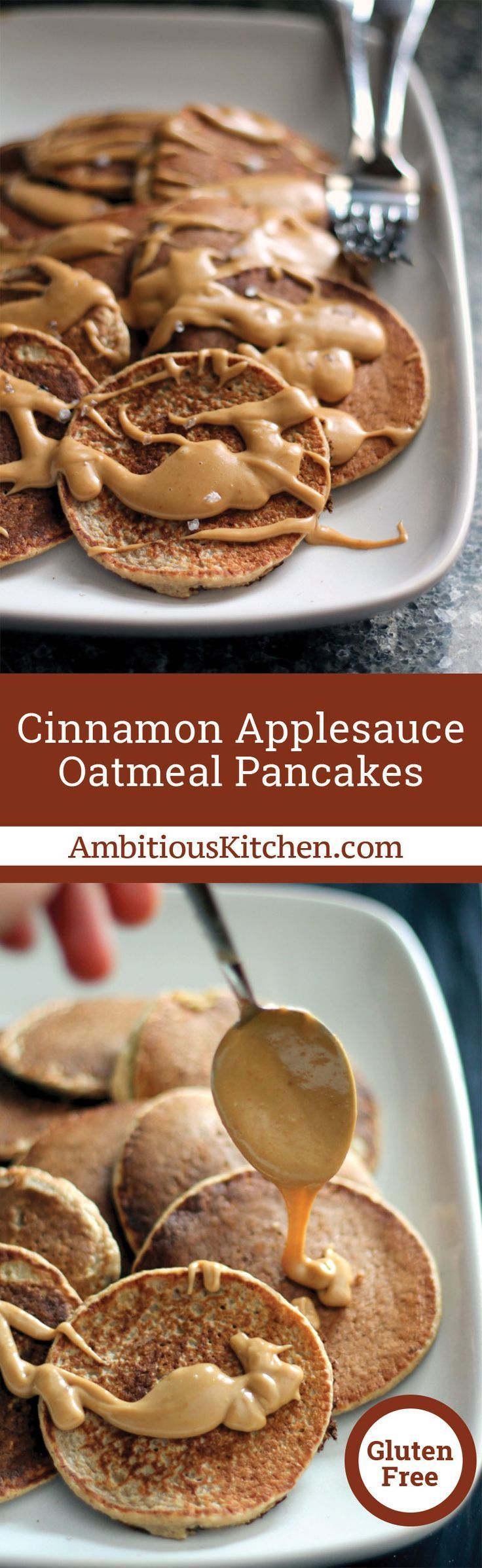 Quick and easy gluten free oatmeal pancakes made in the blender! These healthy pancakes are topped with the most incredible creamy peanut butter maple syrup and finished with a sprinkle of sea salt.