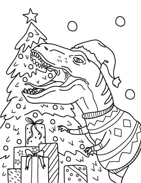 Dinosaur Christmas Tree Coloring Page Printable Christmas Coloring Pages Christmas Coloring Printables Christmas Tree Coloring Page